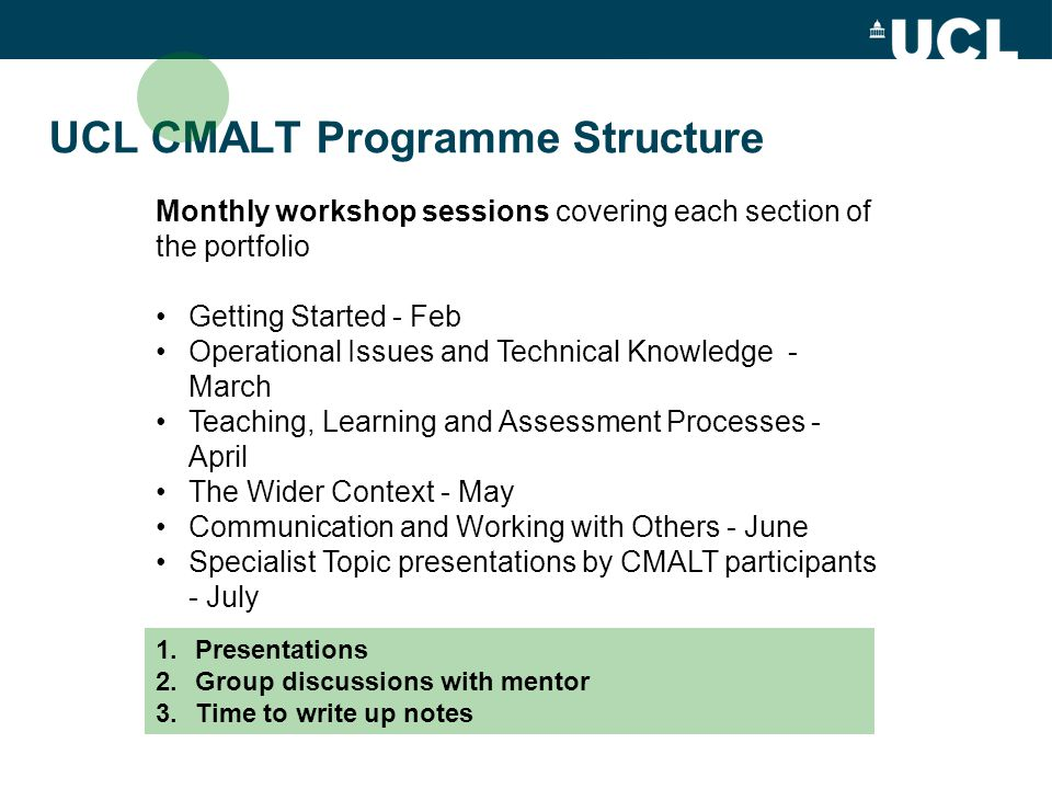 UCL CMALT Programme Structure Monthly workshop sessions covering each section of the portfolio Getting Started - Feb Operational Issues and Technical Knowledge - March Teaching, Learning and Assessment Processes - April The Wider Context - May Communication and Working with Others - June Specialist Topic presentations by CMALT participants - July 1.Presentations 2.Group discussions with mentor 3.Time to write up notes