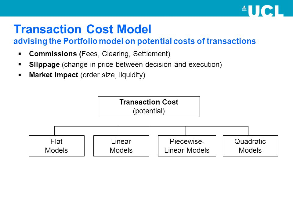 Transaction Cost Model advising the Portfolio model on potential costs of transactions  Commissions (Fees, Clearing, Settlement)  Slippage (change i