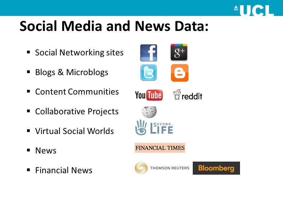  Social Networking sites  Blogs & Microblogs  Content Communities  Collaborative Projects  Virtual Social Worlds  News  Financial News Social Media and News Data: