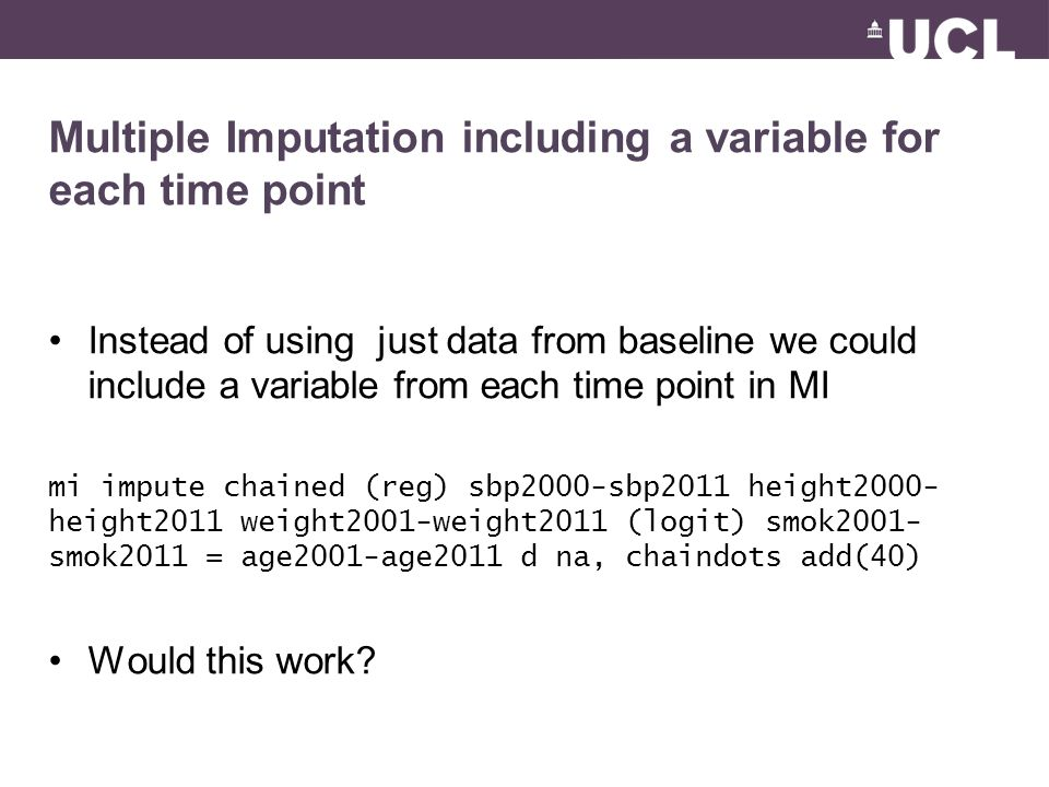 Multiple Imputation including a variable for each time point Instead of using just data from baseline we could include a variable from each time point