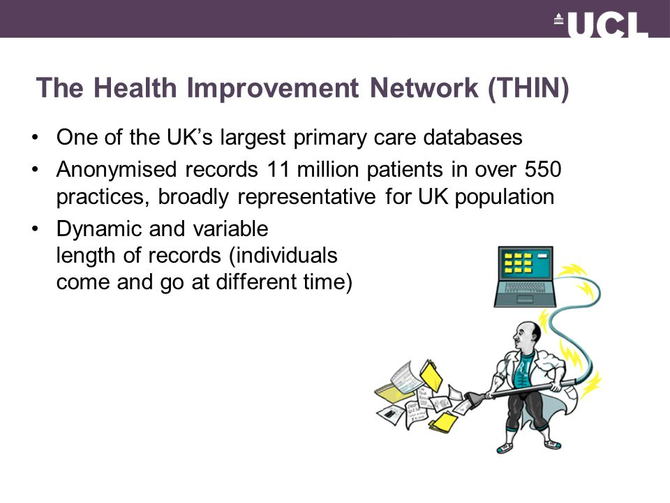 The Health Improvement Network (THIN) One of the UK's largest primary care databases Anonymised records 11 million patients in over 550 practices, bro