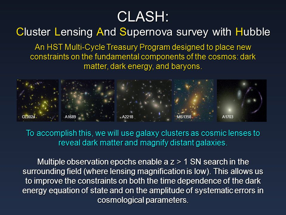 An HST Multi-Cycle Treasury Program designed to place new constraints on the fundamental components of the cosmos: dark matter, dark energy, and baryons.