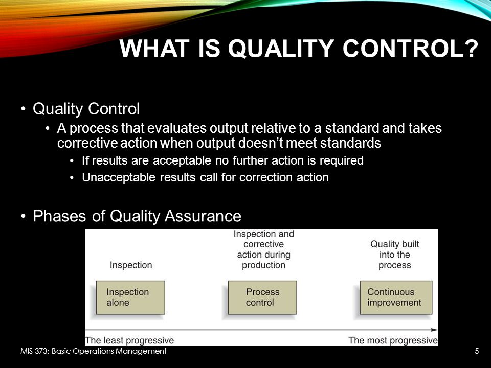 WHAT IS QUALITY CONTROL.