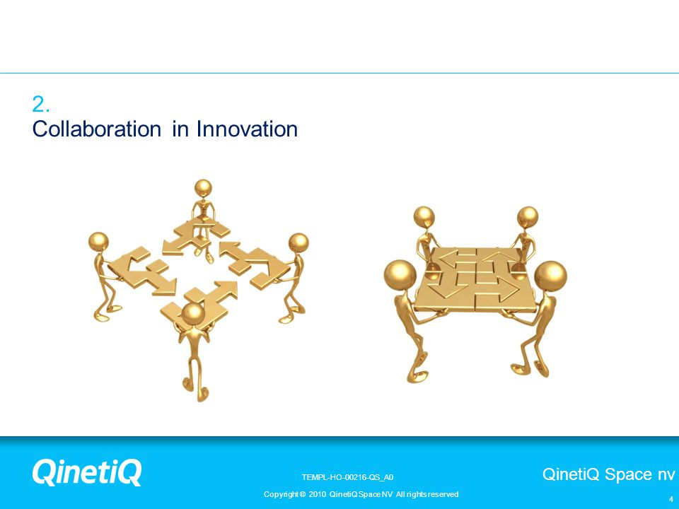 QinetiQ Space nv Copyright © 2010 QinetiQ Space NV All rights reserved TEMPL-HO-00216-QS_A0 4 2. Collaboration in Innovation
