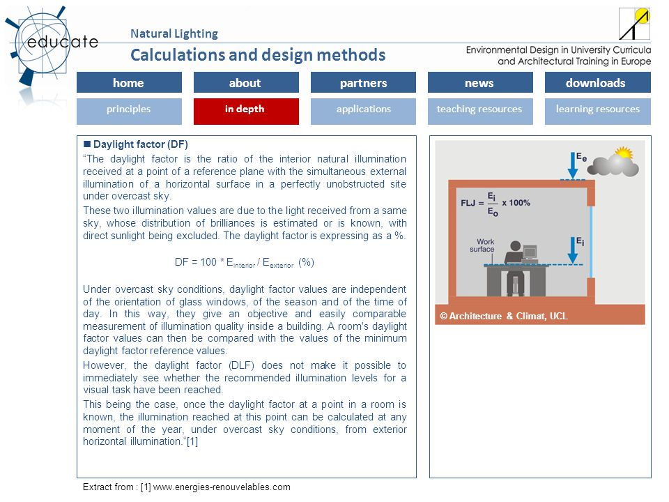 homeaboutpartnersnewsdownloads principlesin depthapplicationsteaching resourceslearning resourcesin depth Natural Lighting Daylight factor (DF) The daylight factor is the ratio of the interior natural illumination received at a point of a reference plane with the simultaneous external illumination of a horizontal surface in a perfectly unobstructed site under overcast sky.