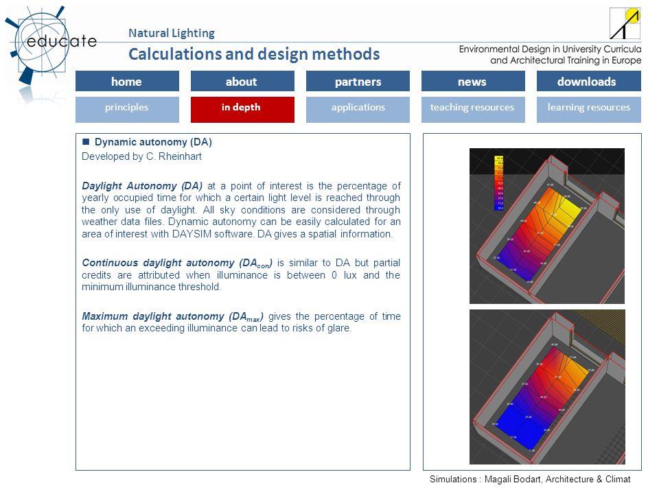 homeaboutpartnersnewsdownloads principlesin depthapplicationsteaching resourceslearning resourcesin depth Natural Lighting Dynamic autonomy (DA) Devel