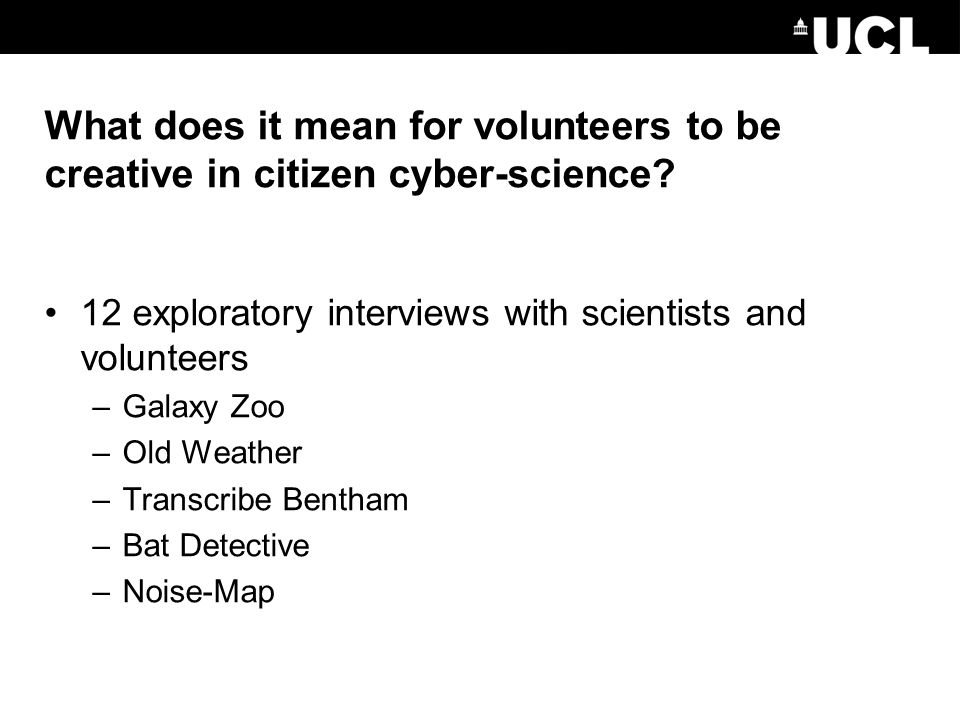 What does it mean for volunteers to be creative in citizen cyber-science.
