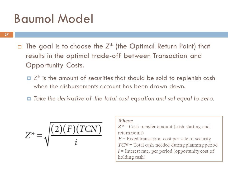 27  The goal is to choose the Z* (the Optimal Return Point) that results in the optimal trade-off between Transaction and Opportunity Costs.  Z* is