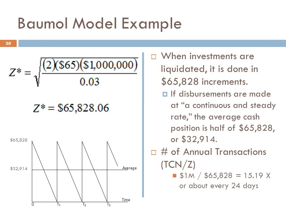 """Baumol Model Example  When investments are liquidated, it is done in $65,828 increments.  If disbursements are made at """"a continuous and steady rate"""