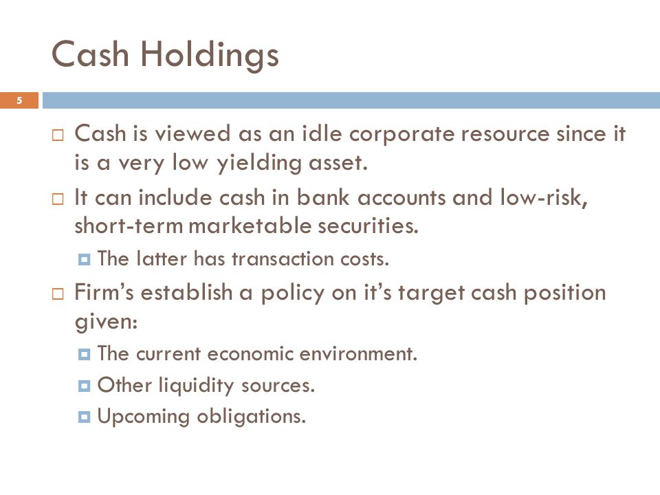 Cash Holdings 5  Cash is viewed as an idle corporate resource since it is a very low yielding asset.  It can include cash in bank accounts and low-r