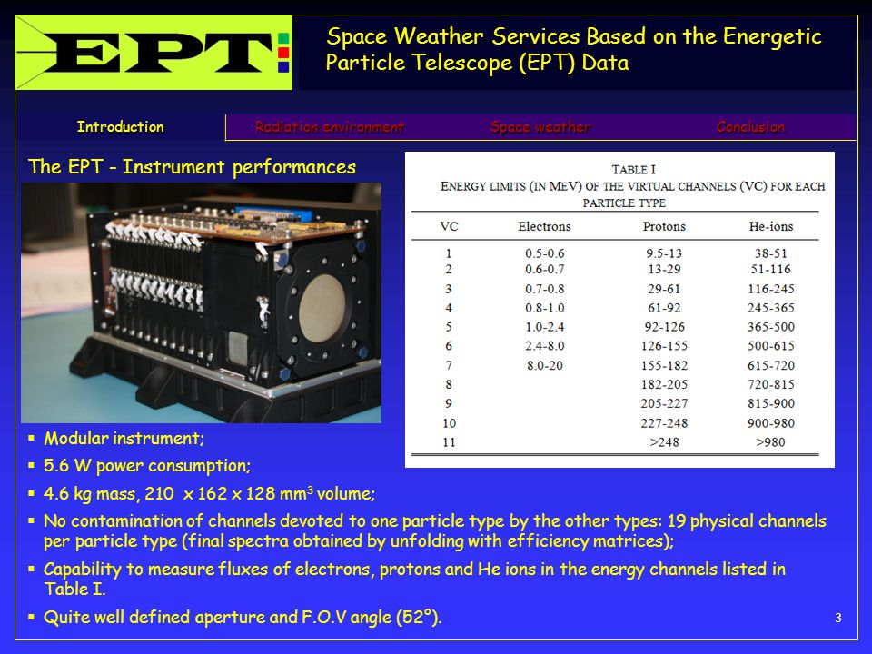 Space Weather Services Based on the Energetic Particle Telescope (EPT) Data 3 Introduction Radiation environment Space weather Conclusion The EPT - Instrument performances  Modular instrument;  5.6 W power consumption;  4.6 kg mass, 210 x 162 x 128 mm 3 volume;  No contamination of channels devoted to one particle type by the other types: 19 physical channels per particle type (final spectra obtained by unfolding with efficiency matrices);  Capability to measure fluxes of electrons, protons and He ions in the energy channels listed in Table I.