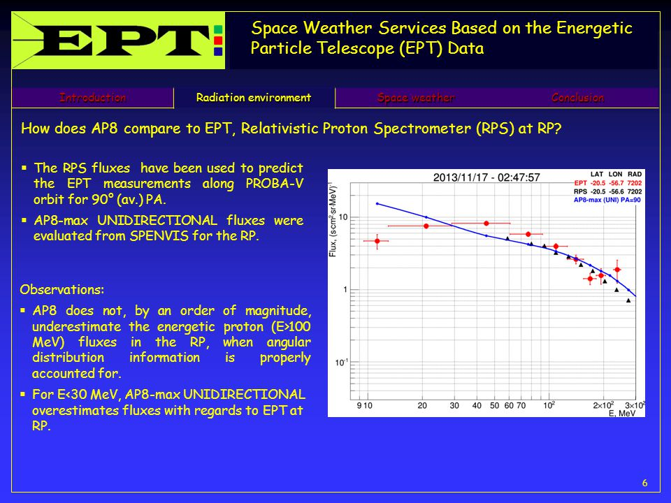 Space Weather Services Based on the Energetic Particle Telescope (EPT) Data 6 How does AP8 compare to EPT, Relativistic Proton Spectrometer (RPS) at RP.