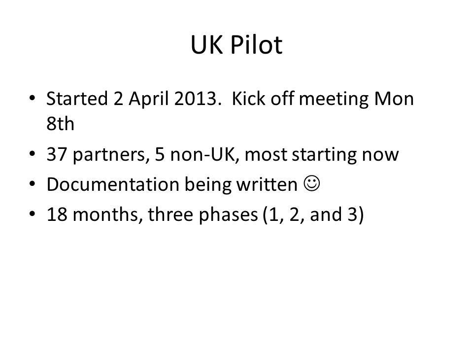 UK Pilot Started 2 April 2013.