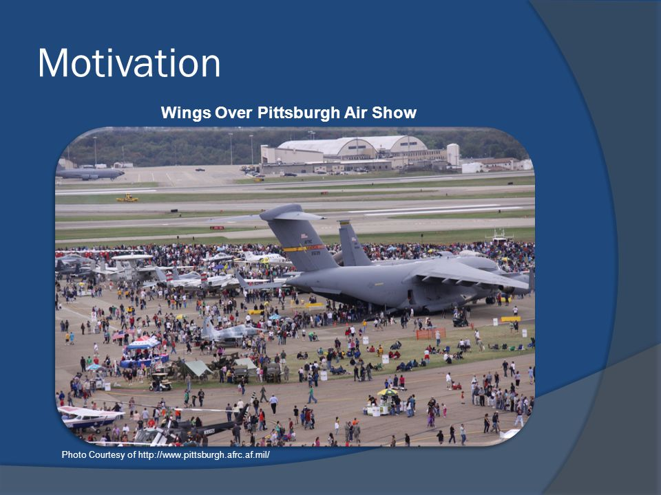 Motivation Photo Courtesy of http://www.pittsburgh.afrc.af.mil/ Wings Over Pittsburgh Air Show