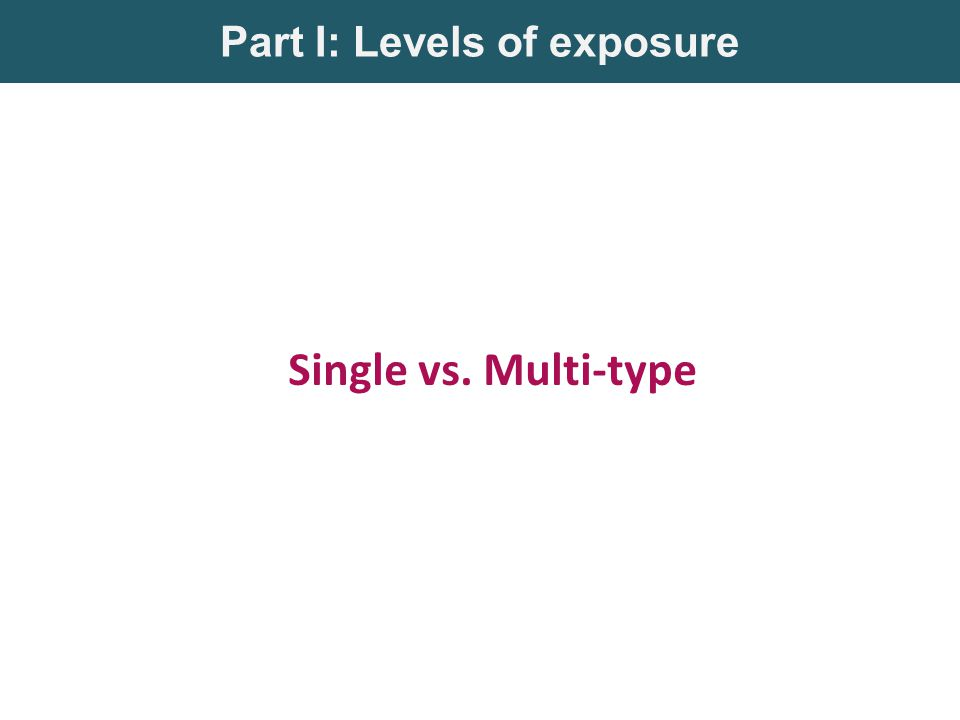Part I: Levels of exposure Single vs. Multi-type
