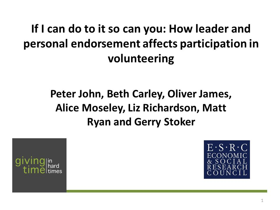 Summing up the findings Endorsements have no positive effects on click-throughs to volunteering units Student endorsements are negative, but would other kinds of endorsement work.