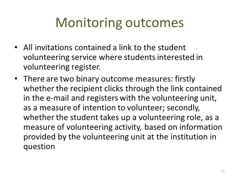 Monitoring outcomes All invitations contained a link to the student volunteering service where students interested in volunteering register. There are