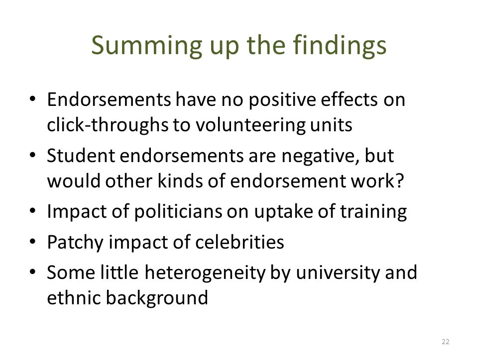 Summing up the findings Endorsements have no positive effects on click-throughs to volunteering units Student endorsements are negative, but would oth