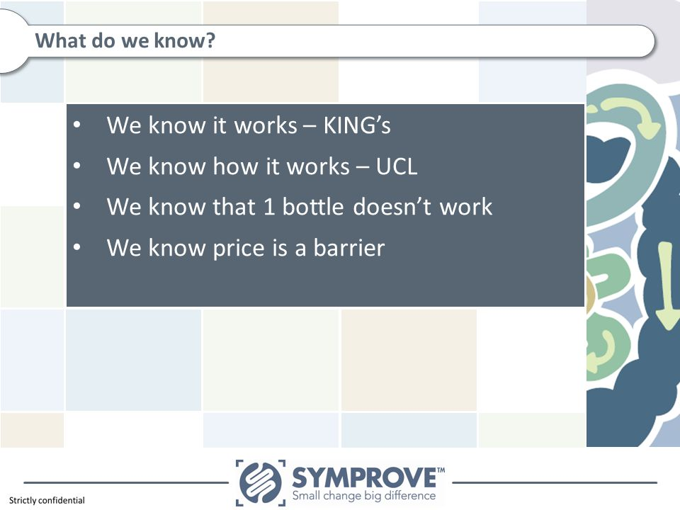 We know it works – KING's We know how it works – UCL We know that 1 bottle doesn't work We know price is a barrier What do we know