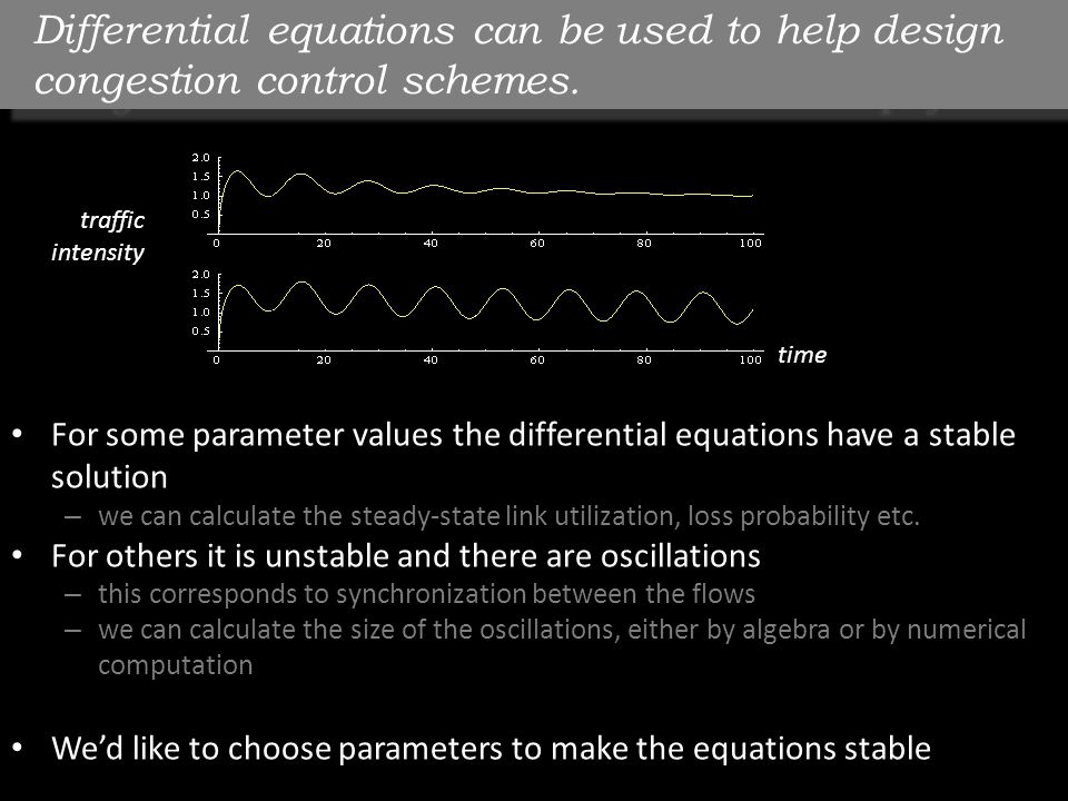 Differential equations can be used to help design congestion control schemes. But there are pitfalls! For some parameter values the differential equat