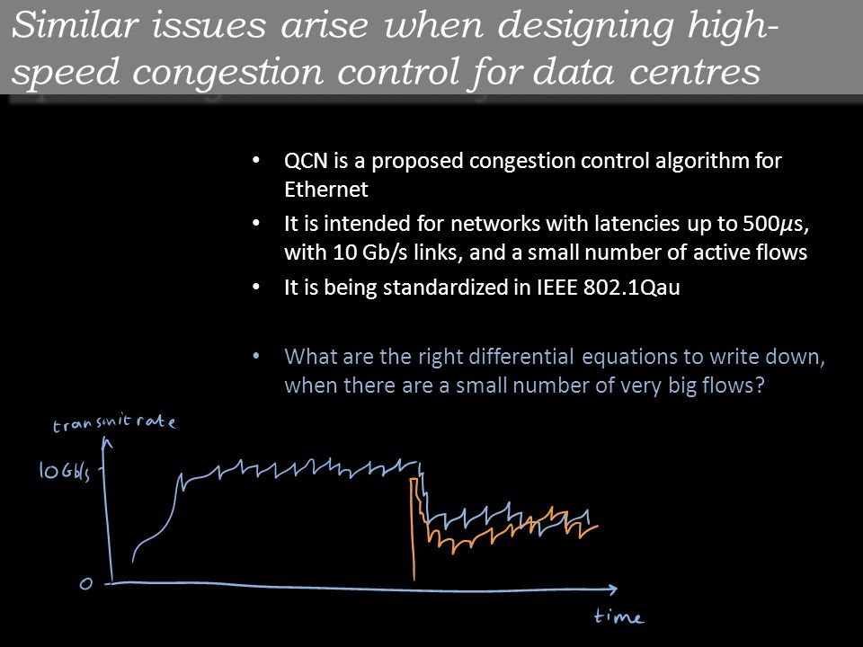 Similar issues arise when designing high- speed congestion control for data centres QCN is a proposed congestion control algorithm for Ethernet It is