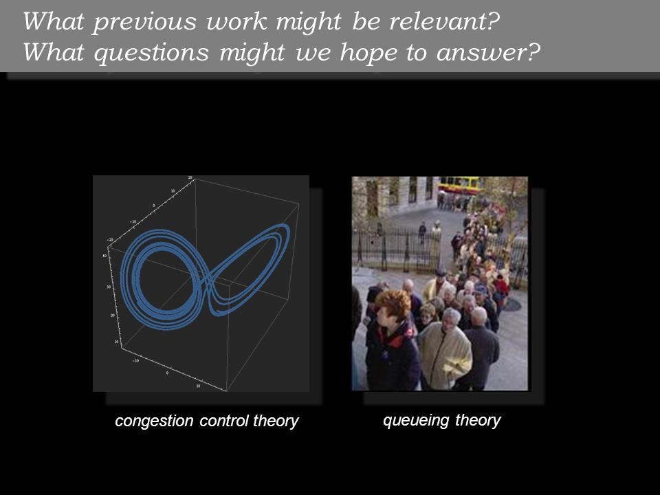 What previous work might be relevant? What questions might we hope to answer? congestion control theory queueing theory