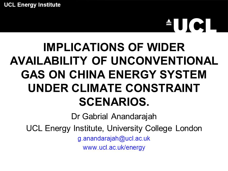 Content Introduction TIAM-UCL Global Energy System Model Scenario definitions Results Conclusions