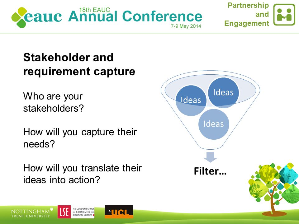 Partnership and Engagement Filter… Ideas Stakeholder and requirement capture Who are your stakeholders.