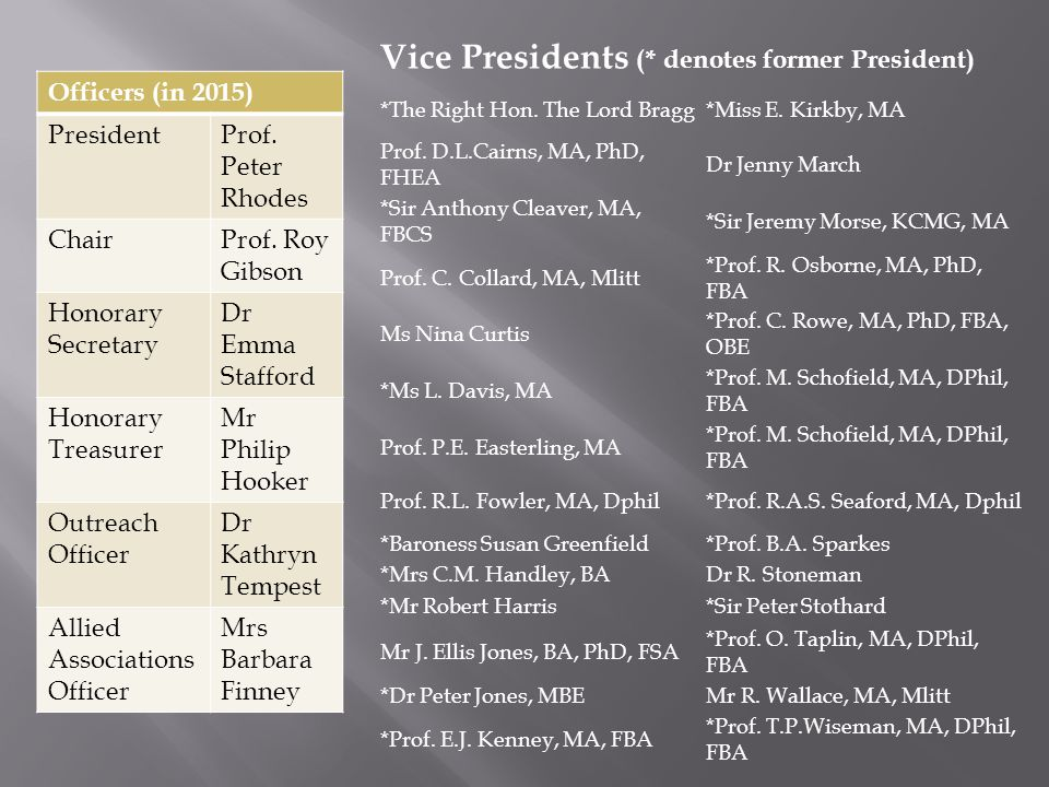 Vice Presidents (* denotes former President) *The Right Hon.