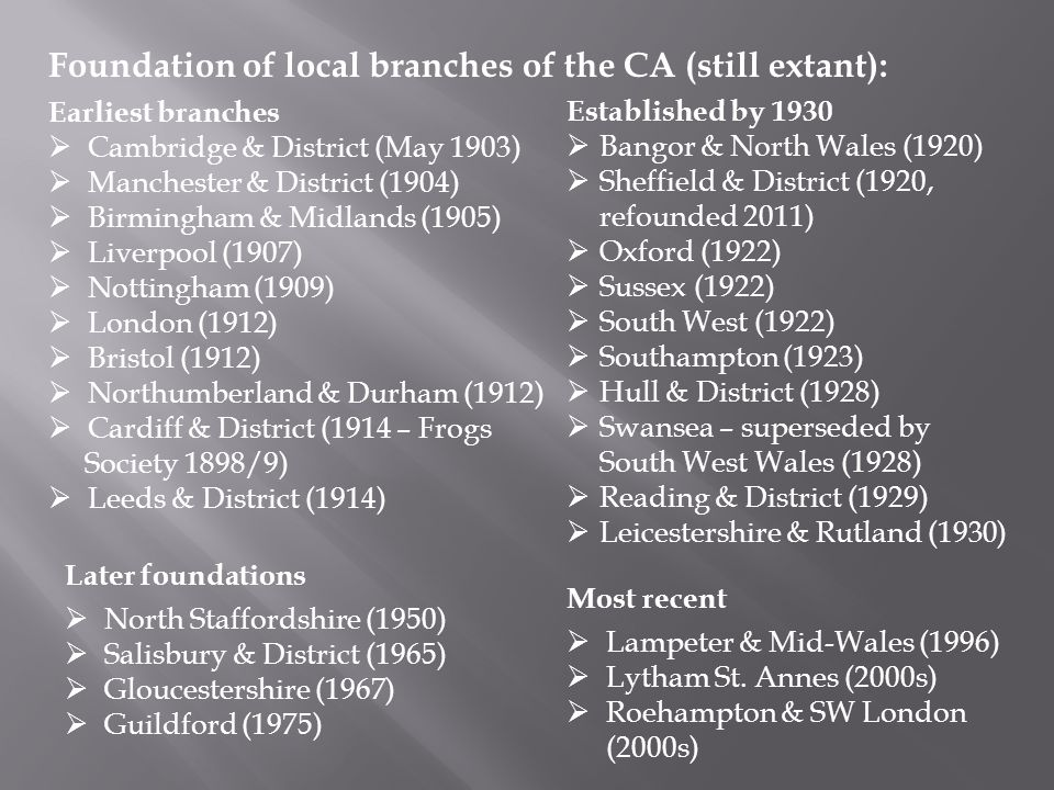 Foundation of local branches of the CA (still extant): Earliest branches  Cambridge & District (May 1903)  Manchester & District (1904)  Birmingham & Midlands (1905)  Liverpool (1907)  Nottingham (1909)  London (1912)  Bristol (1912)  Northumberland & Durham (1912)  Cardiff & District (1914 – Frogs Society 1898/9)  Leeds & District (1914) Established by 1930  Bangor & North Wales (1920)  Sheffield & District (1920, refounded 2011)  Oxford (1922)  Sussex (1922)  South West (1922)  Southampton (1923)  Hull & District (1928)  Swansea – superseded by South West Wales (1928)  Reading & District (1929)  Leicestershire & Rutland (1930) Later foundations  North Staffordshire (1950)  Salisbury & District (1965)  Gloucestershire (1967)  Guildford (1975) Most recent  Lampeter & Mid-Wales (1996)  Lytham St.