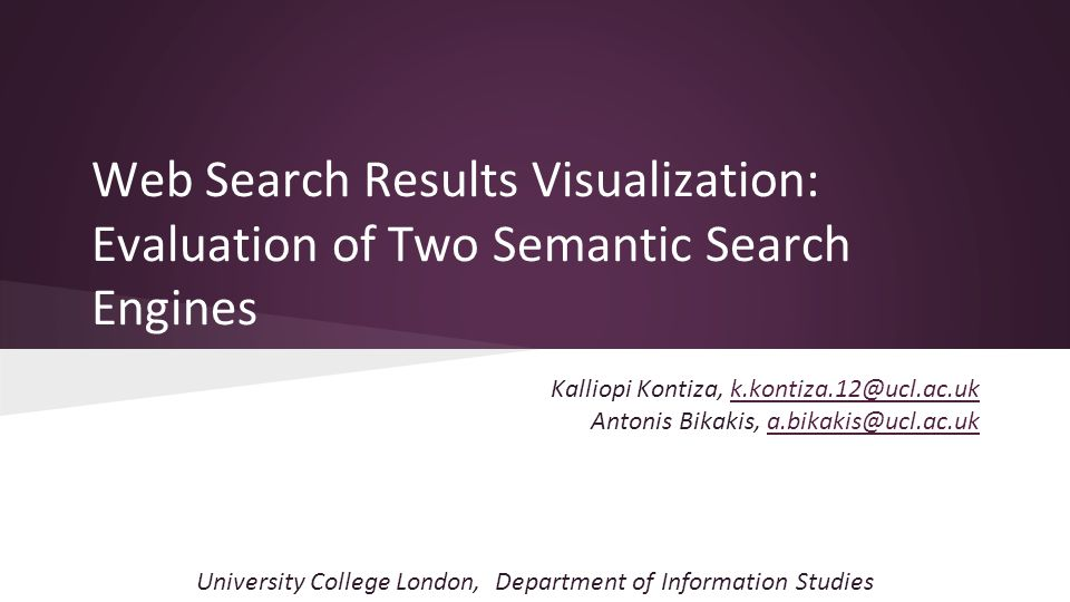 Overview ● Semantic search engines improve the accuracy of search results: - by understanding the meaning and context of terms as they appear in web documents, - by using semantics to represent and process the user's queries and the web data.