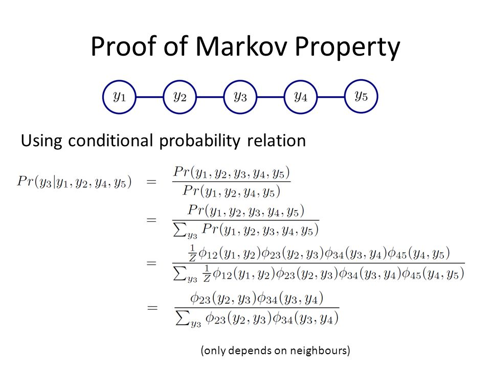 Proof of Markov Property Using conditional probability relation (only depends on neighbours)