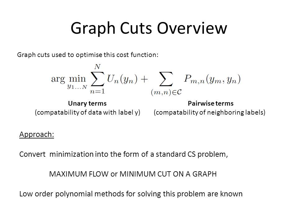 Graph Cuts Overview Unary terms (compatability of data with label y) Pairwise terms (compatability of neighboring labels) Graph cuts used to optimise this cost function: Approach: Convert minimization into the form of a standard CS problem, MAXIMUM FLOW or MINIMUM CUT ON A GRAPH Low order polynomial methods for solving this problem are known