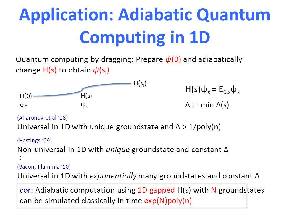 Application: Adiabatic Quantum Computing in 1D Quantum computing by dragging: Prepare ψ(0) and adiabatically change H(s) to obtain ψ(s f ) (Aharonov e