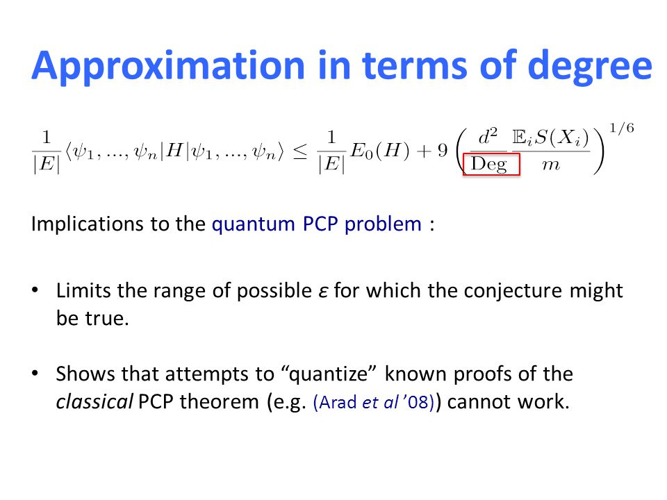Approximation in terms of degree Implications to the quantum PCP problem : Limits the range of possible ε for which the conjecture might be true.