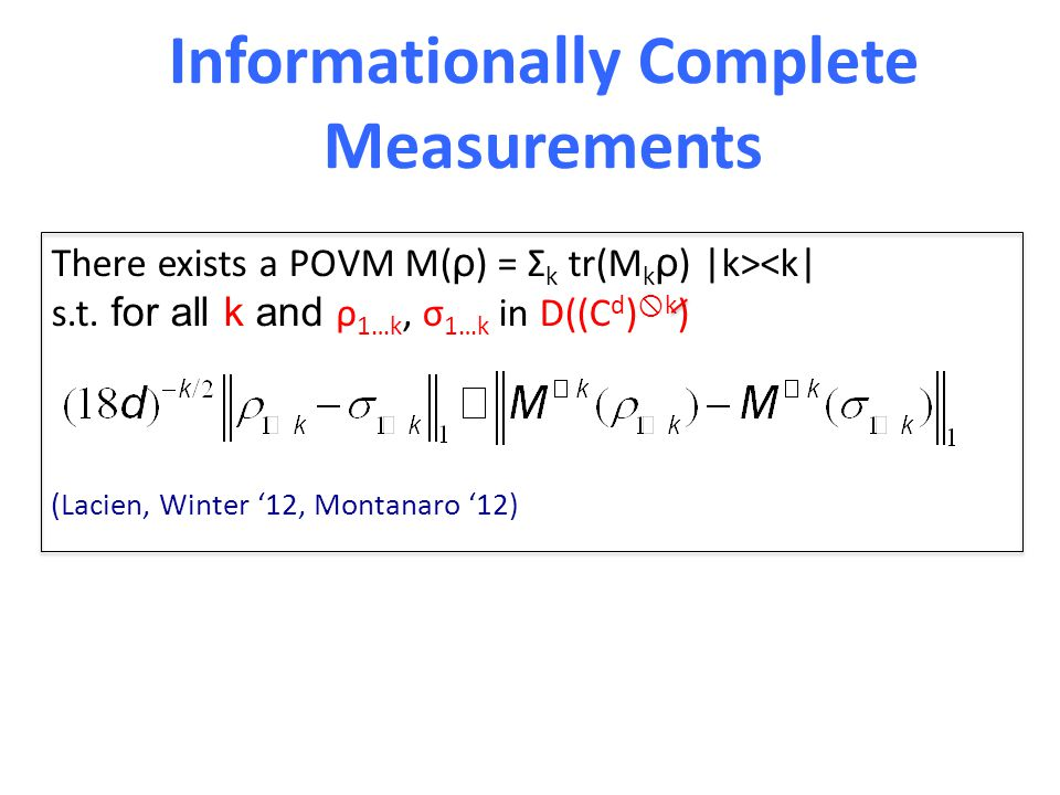 Informationally Complete Measurements There exists a POVM M( ρ ) = Σ k tr(M k ρ ) |k><k| s.t.