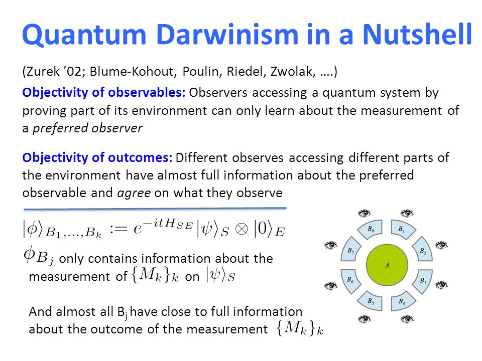 Quantum Darwinism in a Nutshell Objectivity of observables: Observers accessing a quantum system by proving part of its environment can only learn about the measurement of a preferred observer Objectivity of outcomes: Different observes accessing different parts of the environment have almost full information about the preferred observable and agree on what they observe only contains information about the measurement of on And almost all B j have close to full information about the outcome of the measurement (Zurek '02; Blume-Kohout, Poulin, Riedel, Zwolak, ….)
