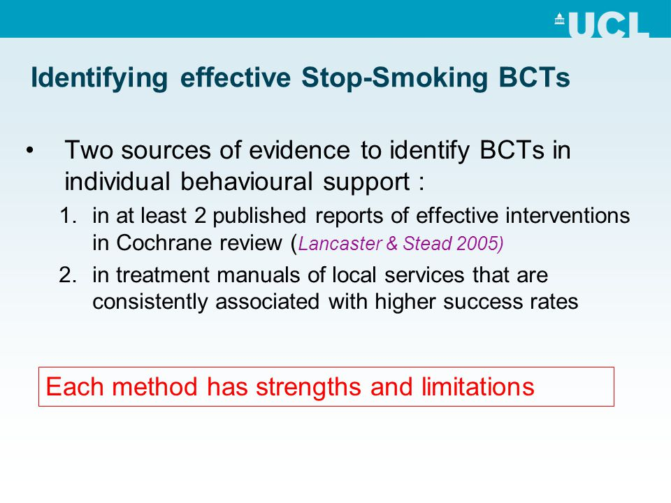 Identifying effective Stop-Smoking BCTs Two sources of evidence to identify BCTs in individual behavioural support : 1.in at least 2 published reports