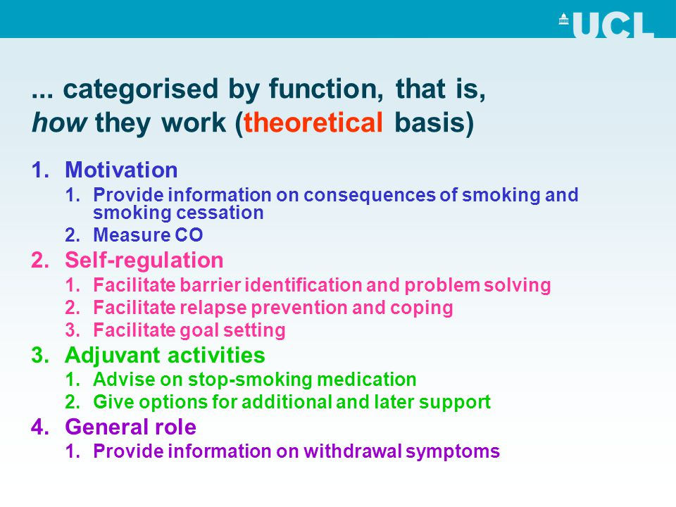 ... categorised by function, that is, how they work (theoretical basis) 1.Motivation 1.Provide information on consequences of smoking and smoking cess