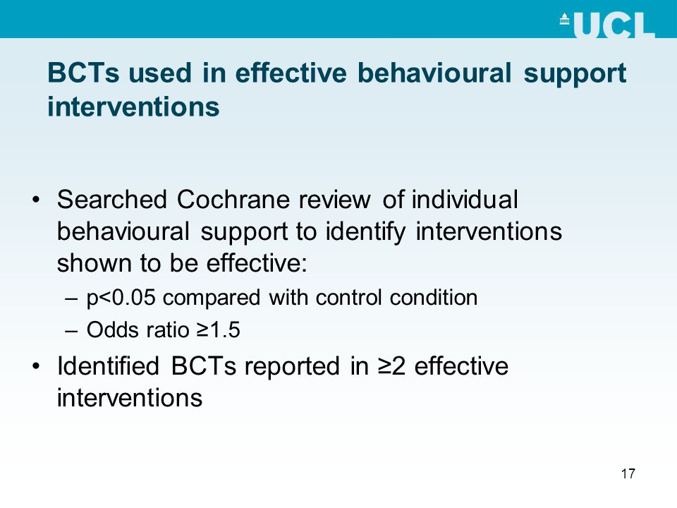 17 BCTs used in effective behavioural support interventions Searched Cochrane review of individual behavioural support to identify interventions shown to be effective: –p<0.05 compared with control condition –Odds ratio ≥1.5 Identified BCTs reported in ≥2 effective interventions