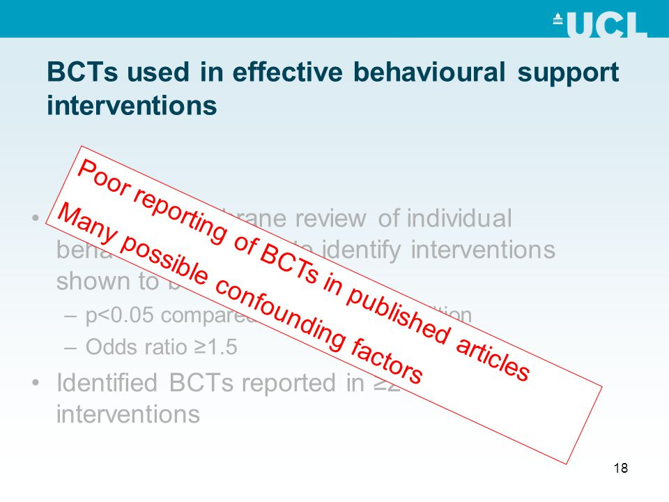 18 BCTs used in effective behavioural support interventions Searched Cochrane review of individual behavioural support to identify interventions shown