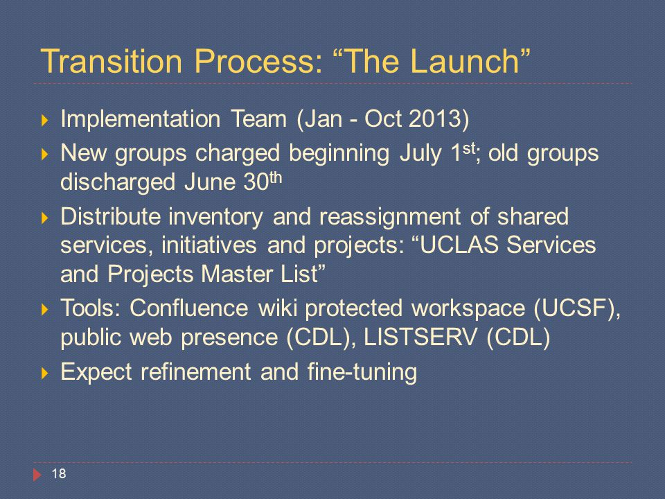 "Transition Process: ""The Launch""  Implementation Team (Jan - Oct 2013)  New groups charged beginning July 1 st ; old groups discharged June 30 th "