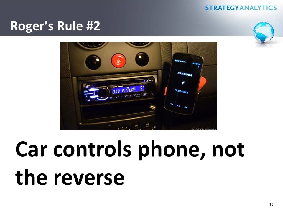 Roger's Rule #2 13 Car controls phone, not the reverse