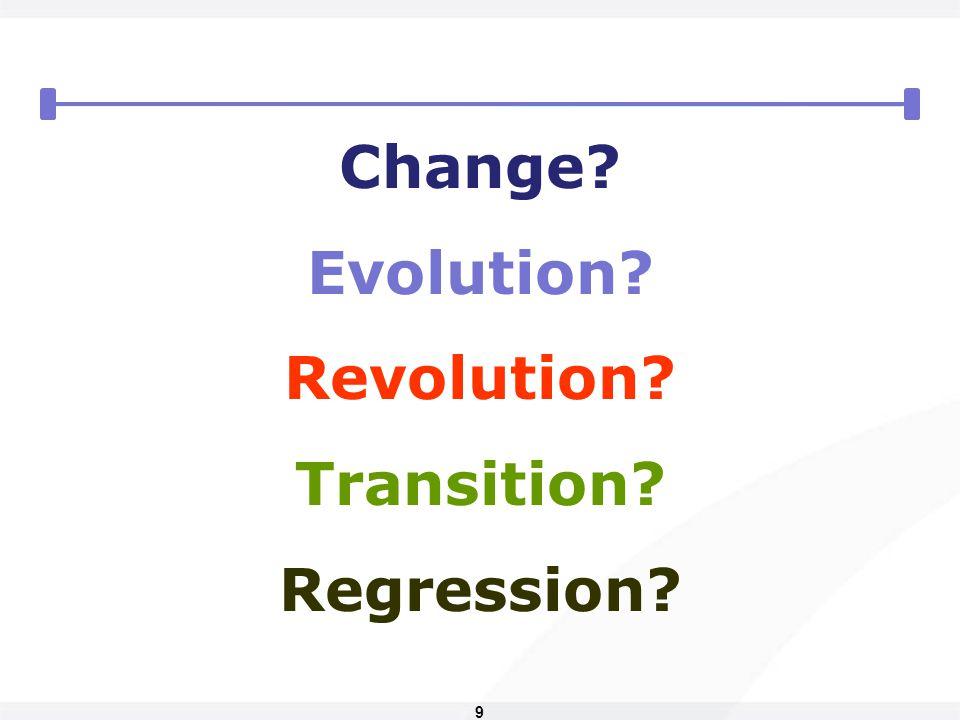 9 Change? Evolution? Revolution? Transition? Regression?