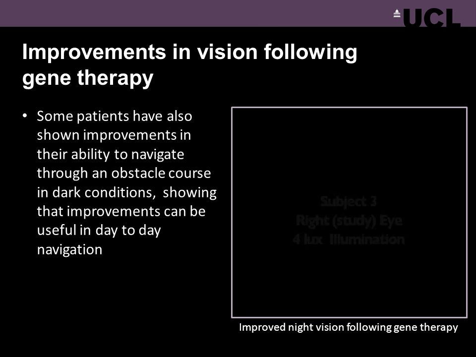 Improvements in vision following gene therapy Some patients have also shown improvements in their ability to navigate through an obstacle course in da