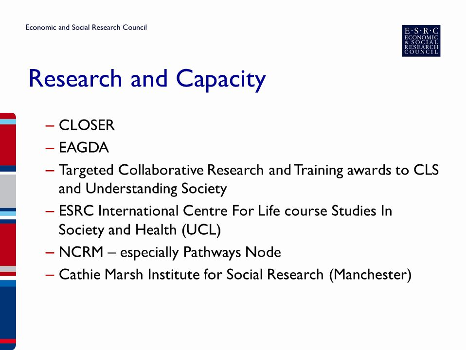 Research and Capacity – CLOSER – EAGDA – Targeted Collaborative Research and Training awards to CLS and Understanding Society – ESRC International Centre For Life course Studies In Society and Health (UCL) – NCRM – especially Pathways Node – Cathie Marsh Institute for Social Research (Manchester)