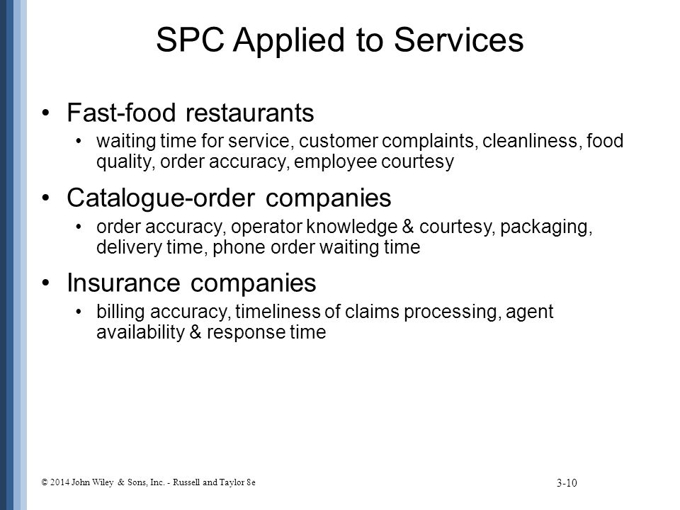 SPC Applied to Services Fast-food restaurants waiting time for service, customer complaints, cleanliness, food quality, order accuracy, employee court