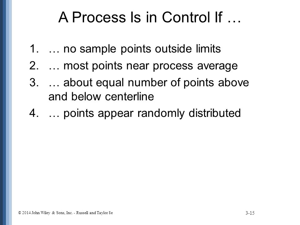 A Process Is in Control If … 3-15 © 2014 John Wiley & Sons, Inc. - Russell and Taylor 8e 1.… no sample points outside limits 2.… most points near proc