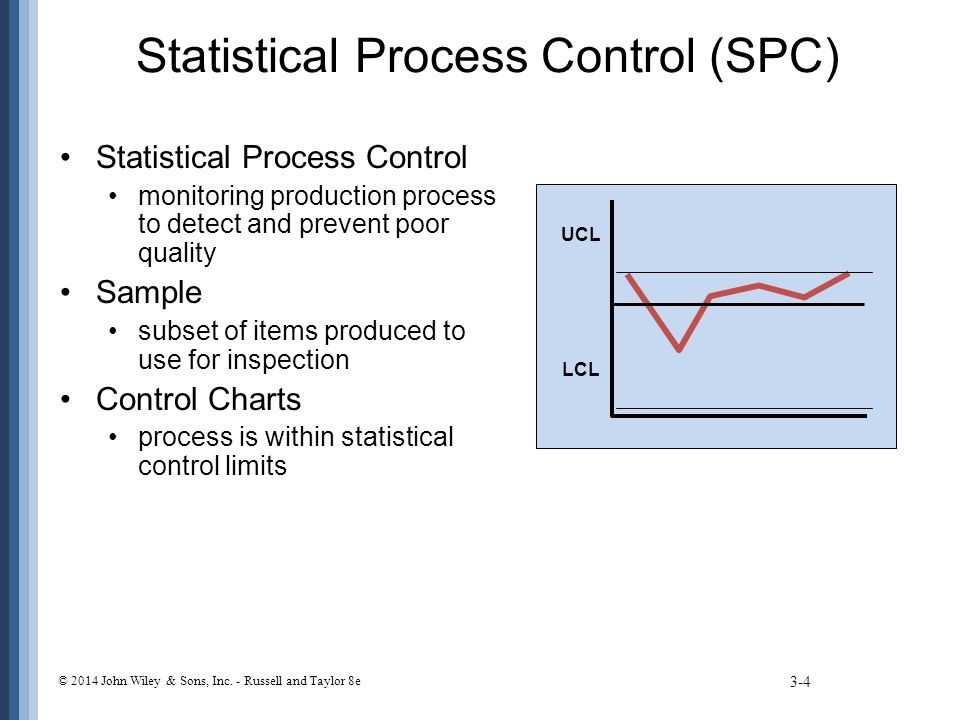 A Process Is in Control If … 3-15 © 2014 John Wiley & Sons, Inc.