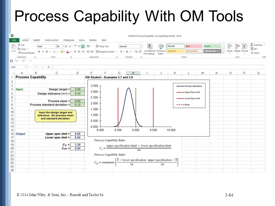 Process Capability With OM Tools 3-64 © 2014 John Wiley & Sons, Inc. - Russell and Taylor 8e
